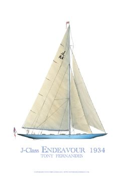 1934 Endeavour - signed print